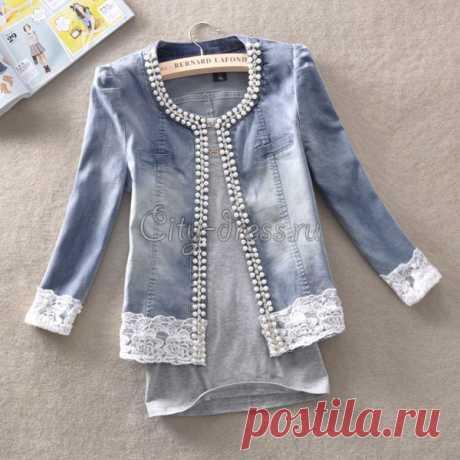 джинсовая куртка с кружевом и бисером - Куртки | Парки - City-Dress.ru
