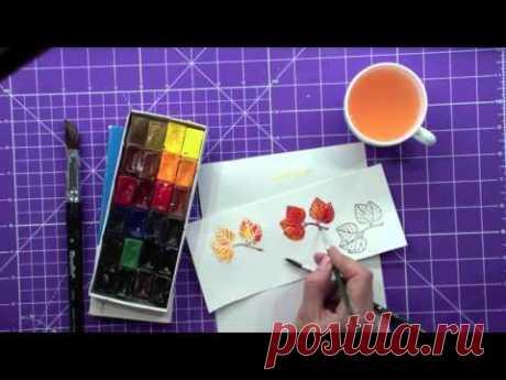 Горячий эмбоссинг и акварельные краски