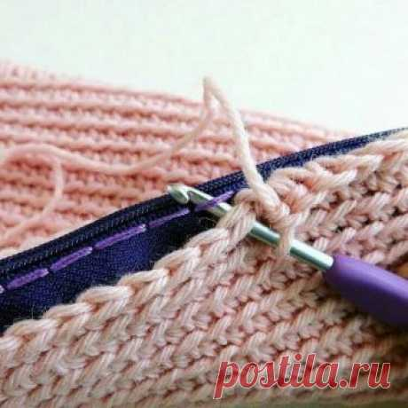 Способ вшить в вязание застёжку молнию Модная одежда и дизайн интерьера своими руками
