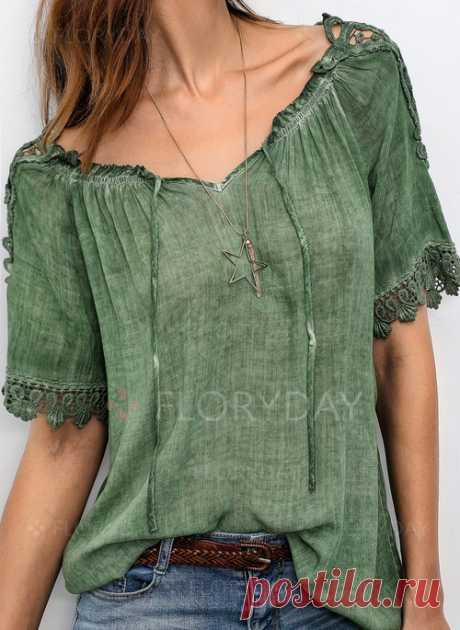 Pубашки Средние рукава Цвет сплошного С плеча - Floryday