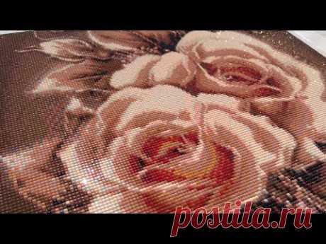 """Алмазная мозаика """"Карамельные розы"""" Готовая работа"""
