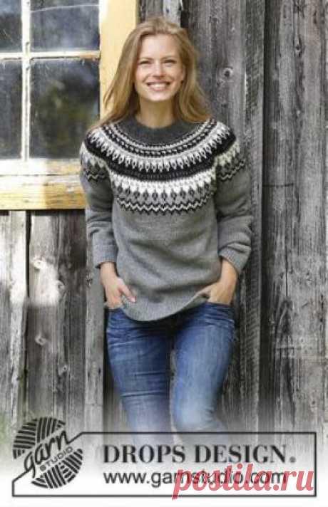 Свитер Ночные тени Красивая женская модель свитера с круглой жаккардовой кокеткой, связанная на спицах 4 мм из шерсти. Вязание свитера начинается по кругу...
