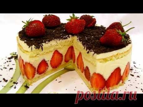 """La torta de \""""Freze\"""" (Fraisier). La torta de fresa. La receta poshagovyy."""