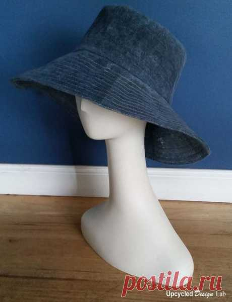 Upcycled Design Lab Blog - Men's Jeans to Wide Brim Hat with Faux Oil Cloth Finish