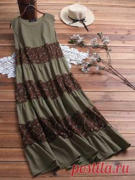 O-NEWE Винтаж Цветочные пэчворк без рукавов Plus Размер Платье для Женское - NewChic