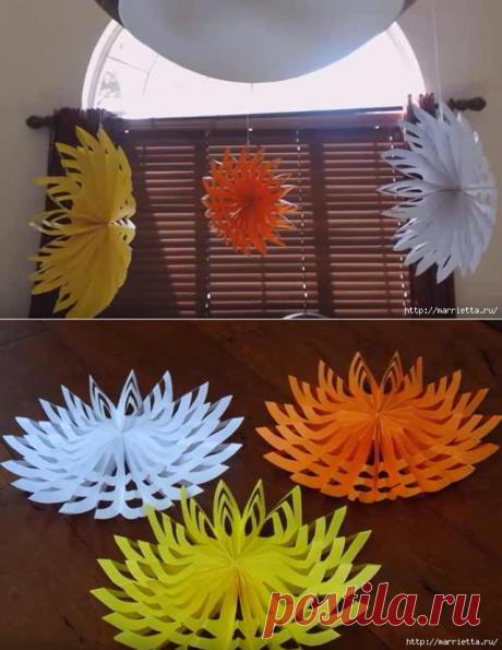 Объемные 3D снежинки из бумаги. Видео мастер класс.