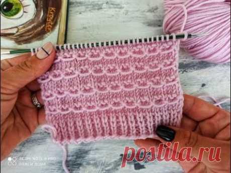 Красивый и очень простой узор спицами для вязания джемпера, свитера, кардигана, шапки, жилета.