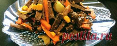 Салат из говяжьей печени - Диетический рецепт ПП с фото и видео - Калорийность БЖУ