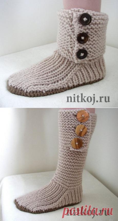 Сапожки-тапочки спицами Prairie Boots » Ниткой - вязаные вещи для вашего дома, вязание крючком, вязание спицами, схемы вязания