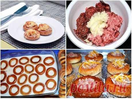 Бублики (сушки) с фаршем  Оригинальная закуска с сушками, мясным фаршем и сыром.