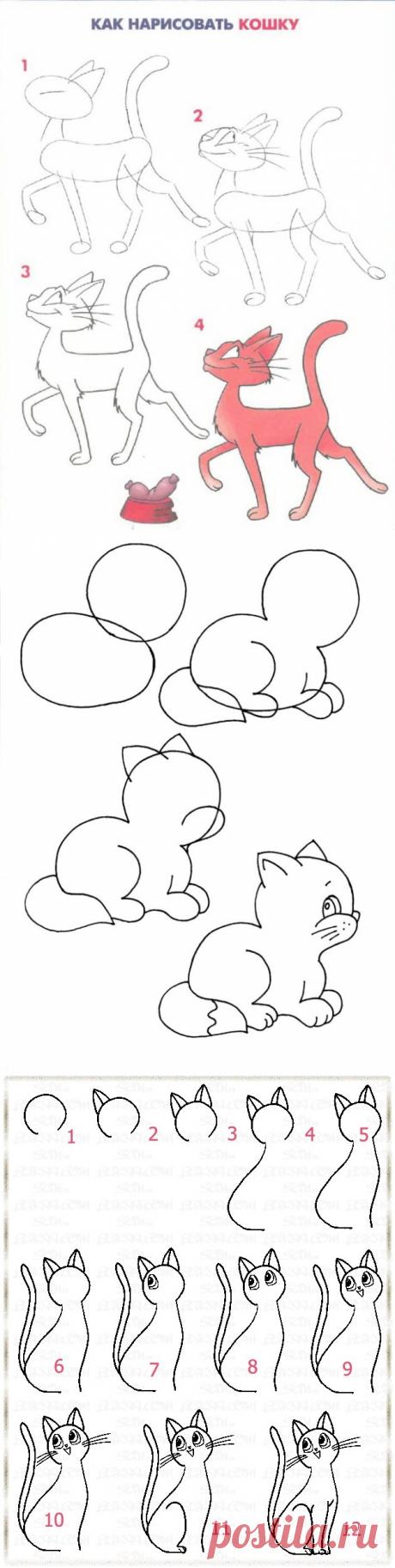 Как нарисовать кошку - Поделки с детьми | Деткиподелки