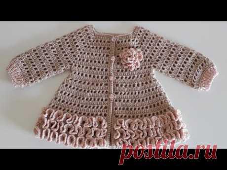 Crochet #12 How to crochet a baby girl's cardigan
