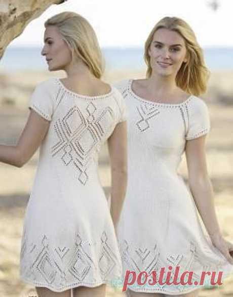 Ажурное платье с ромбами! Изысканное легкое платье для воздушной натуры, наполненной светлыми мечтами и теплыми надеждами! Предлагаем Вашему вниманию описание милого платья, связанного вручную. Нравится публикация и хотите видеть описания платьев почаще?