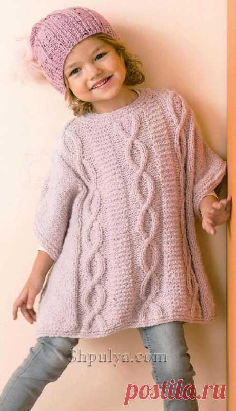 Платье-пончо спицами для девочки — Shpulya.com - схемы с описанием для вязания спицами и крючком