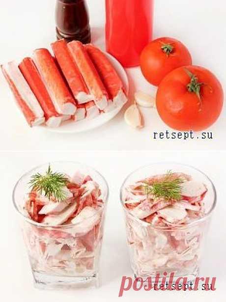 Салат с крабовыми палочками, помидорами и чесноком   ВКУСНО ПОЕДИМ!