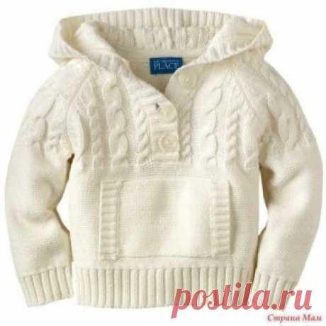 Вяжем детский пуловер с капюшоном.