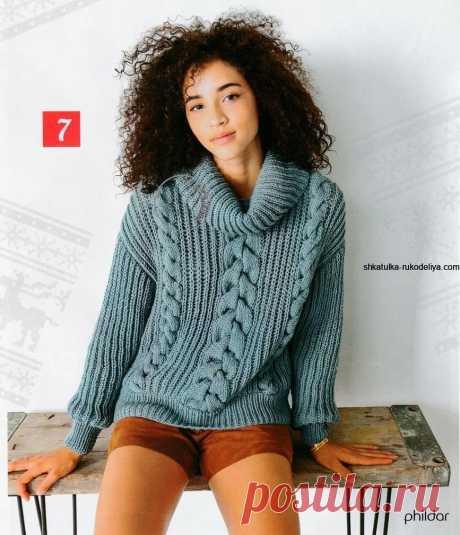 Пуловер с обьемным воротником спицами. Пуловер с косами описание схема
