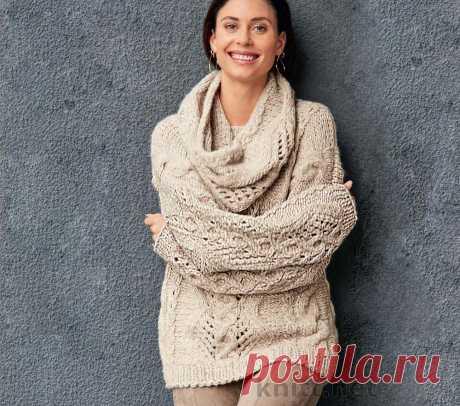 Вязаный комплект шарф снуд и пуловер Вязаный комплект шарф снуд и пуловер - что может быть естественнее этих вещей зимой! Прекрасным примером служит ансамбль из пуловера длиной до бедер