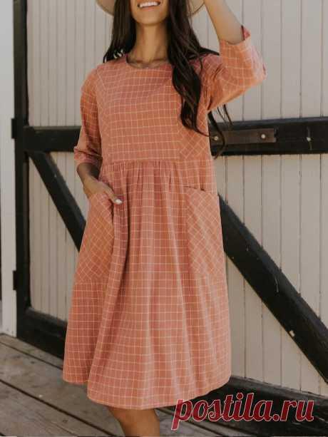 Women Cotton Plaid Loose Side Zipper Double Pockets 3/4 Sleeve Mom Midi Dress - US$22.99