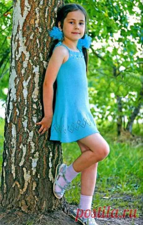 Сарафан бирюзового цвета. На возраст 4-5 лет (Вязанипе спицами) – Журнал Вдохновение Рукодельницы