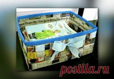 Идея для хранения: корзинка из газеты своими руками | 33 Поделки | Яндекс Дзен