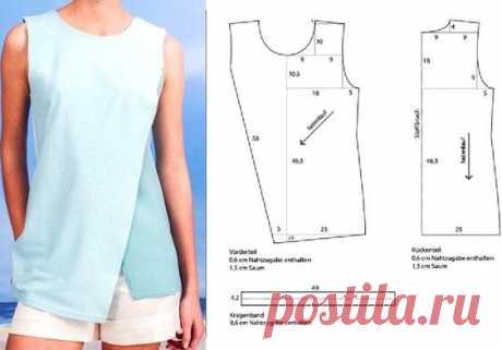 Выкройка топа-распашонки Модная одежда и дизайн интерьера своими руками