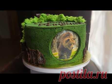 """""""ЛЕСНОЙ"""" декор для торта🌿кора, мох, японский заварной бисквит 🌿 FOREST cake decoration - YouTube"""