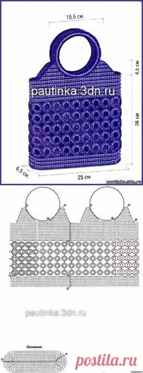 Вязаная сумка из колечек - Схемы вязания сумок - Схемы для вязания - Уроки вязания крючком - Вязание крючком, мотивы, схемы для вязания крючком