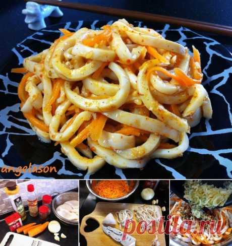 """Как я готовлю КАЛЬМАР ПО - КОРЕЙСКИ.  Это блюдо довольно простое и не требует каких то специальных корейских приправ, поэтому я с удовольствием делюсь им с вами :))  Попробуйте и """" Кальмар по- корейски"""" станет любимым блюдом из кальмара в вашей семье!  ИНГРЕДИЕНТЫ  * очищенные тушки кальмаров - 1 кг. *"""