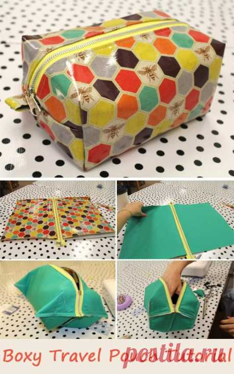 Boxy Travel Pouch Tutorial. How to sew free tutorial for beginners. Ideas for sewing projects. Step by step illustration. #pouch #sewing - Salvabrani