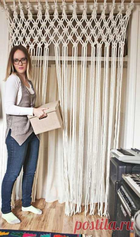 Curtain from a rope in equipment of a macrame - the Way to true
