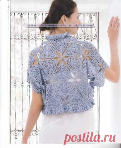 Bolero con unión de motivos triangulares | Mi Rincon de Crochet