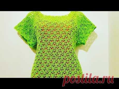 Blusa a Crochet Canesu Rectangular