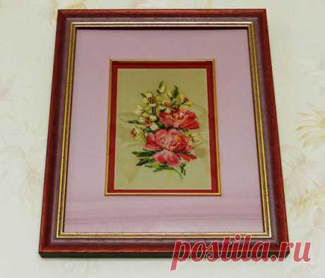 Framed Embroidery Cross-Stitch Picture Peonies. от YakovlevaLena