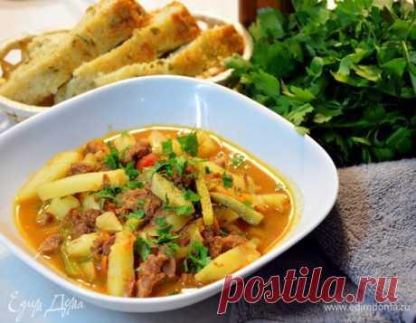 Азу по-татарски в мультиварке. Ингредиенты: говядина, картофель, лук репчатый