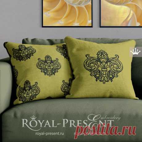 Дизайн машинной вышивки Контурная Геральдическая лилия