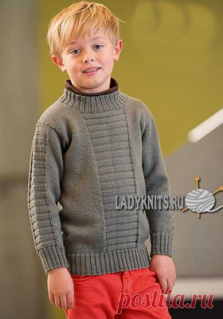 Simple sweater spokes for the boy from 2 to 12 years