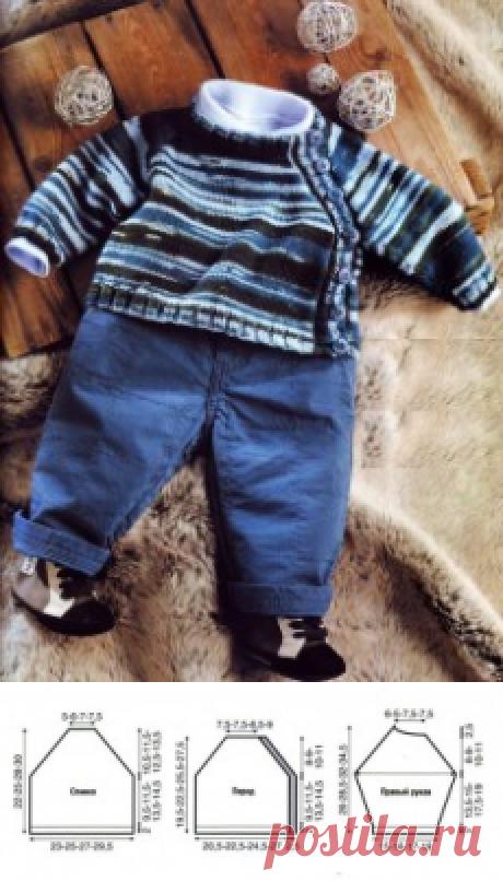 Детский пуловер из меланжевой пряжи, вязаный спицами | петелики