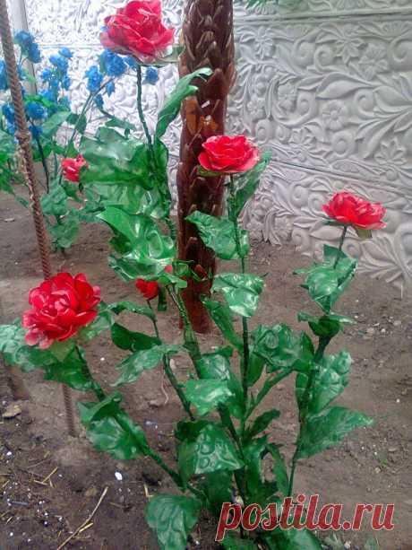 Розы из пластиковых бутылок: мастер-клacc