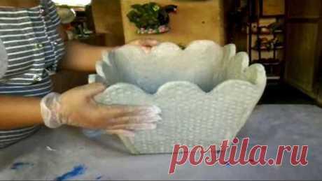IDEIA SUPER FÁCIL, Como fazer um vaso de Cimento e Areia usando PAPELÃO