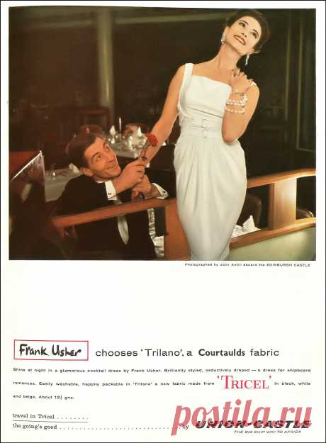 Model in seductively draped cocktail dress by Frank Usher,… | Flickr
