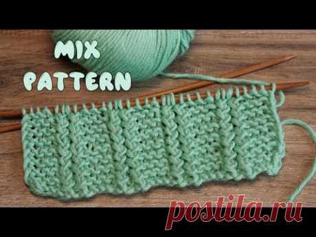 Микс французской резинки и платочного узора спицами 😋 Mix pattern