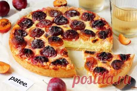 Пирог со сливами и творогом Готовим вкуснейший открытый пирог с творожной начинкой и красными сливами! Тонкая основа из теста, кремовая начинка из творога, а на поверхности этой начинки - сливы с сахарной корочкой, вот каким получается пирог по этому рецепту. По сезону сливы, конечно же, можно заменить другими фруктами или ягодами, главное, чтобы мякоть их была не слишком сочной, водянистой; заменой сливам могут стать абрикосы, смородина, яблоки, а вот груши или нарезанные...