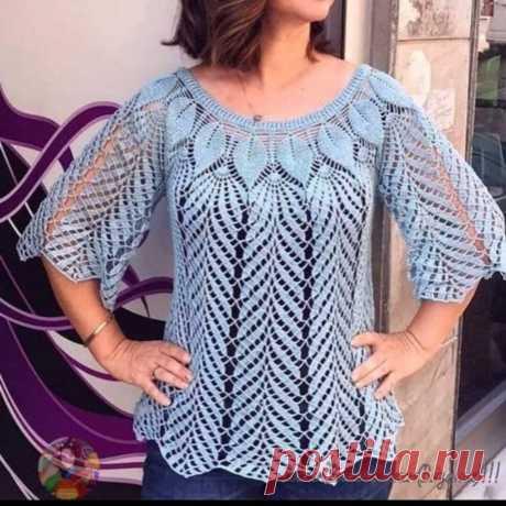 Летняя блуза с кокеткой крючком схема