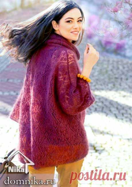 Модные модели из мохера спицами I ажурный пуловер на весну 2019