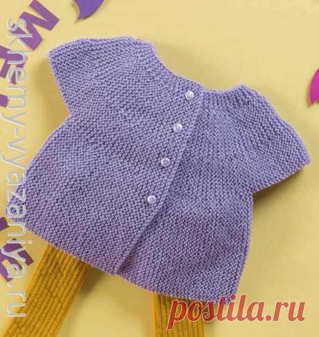 Жакет поперечной вязки с кокеткой, для девочки до года. Схема вязания спицами и описание .