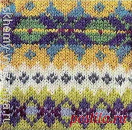 Жаккард Астра и ромбовидный цветочный бордюр - схема вязания узора спицами