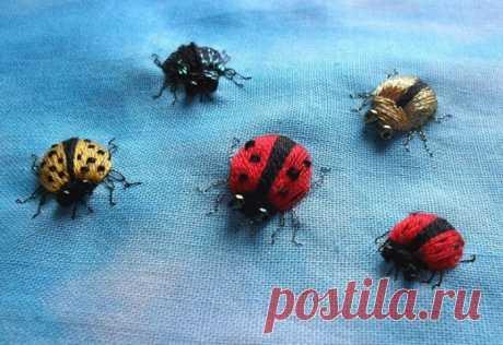 Volume embroidery. Ladybugs