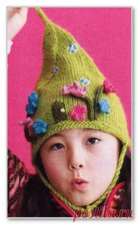 Вязание спицами для детей. Шапочка с завязками Домик гномика, для девочки. Размер: на 0-3 мес., 6-12 мес., 1-2 года, 3-5 лет, 6-10 лет