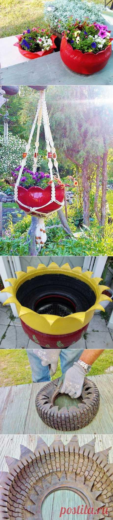 Цветочная клумба из старой шины - неожиданный поворот | Ladiesvenue